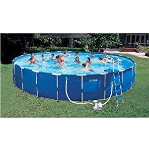 Intex 24 foot x 52 foot Round Metal Frame Pool with Saltwater System