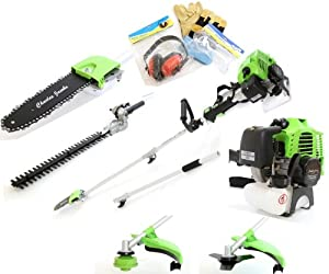 Charles Jacobs 52cc Petrol Long Extesion Multi Function 5 in 1 Garden 2-Stroke Power Tool in Green including: (1)Hedge Trimmer, (2)Strimmer, (3)Brushcutter, (4)Chainsaw Pruner, (5)Extension Pole & Safety Kit