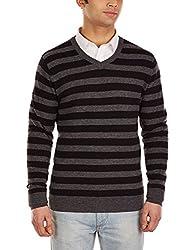 Flying Machine Men's V-Neck Wool Blend Sweater (FMSW0222_Black_L)