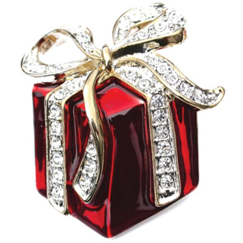 Red Christmas Present Gift with Rhinestone Bow Brooch Lapel Pin 1-1/2""