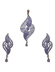 Gehna American Diamond Studded Pendant & Earrings Set With Yellow Gold Rhodium