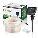 LE® 33ft 100 LED Solar Rope Lights, Waterproof Outdoor Rope Lights, 6000K Daylight White, Portable, LED String Light with Light Sensor, Ideal for Wedding, Party, Decorations, Gardens, Lawn, Patio