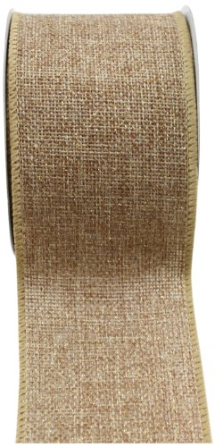 Kel-Toy RDJB162-12G Sparkle Faux Burlap Ribbon with Gold Glitter, 2.5-Inch by 10-Yard, Natural