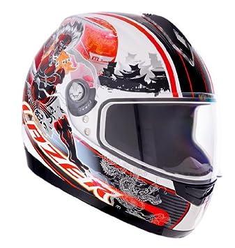 1201431040L lazer casque de moto vertigo raijin taille l (blanc/rouge)