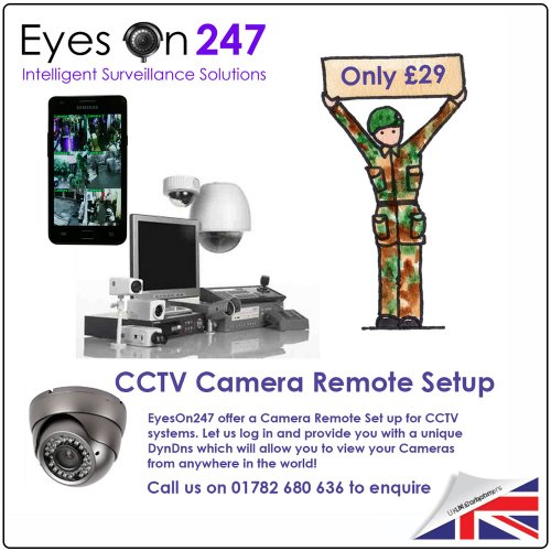 Eye20 - cctv remote set up support let us configure your IP cctv camera remotely including expert help with configuration on your smart phone/tablet - from EyesOn247 ® Why not ring sales and support for more information - 01782 680636 - (Opening Hours 9:0