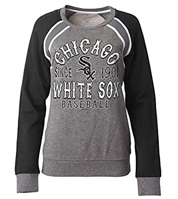 MLB Chicago White Sox Women's French Terry Crew Neck Sweatshirt with Contrasting Sleeves, Gray, Large