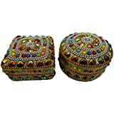 Decorative Jewellery Boxes Vintage Style Handmade Beaded Material Set Of 2 Pcs Pill Box Table Top Home Decor Antique...