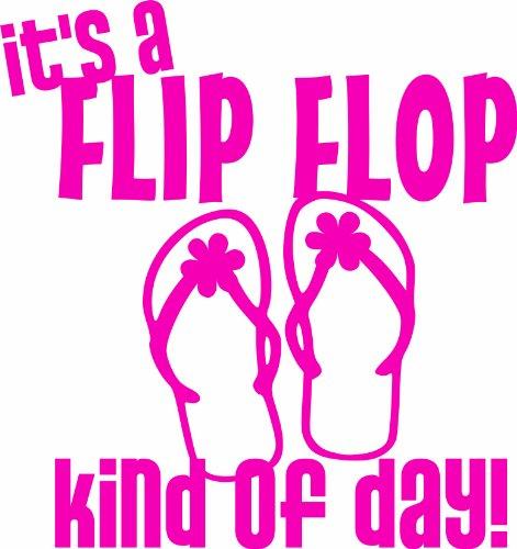 Design with Vinyl Design 192 - Dark Pink It'S A Flip Flop Kind Of Day Vinyl Wall Decal Sticker , 20-Inch By 20-Inch, Dark Pink