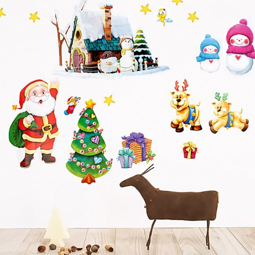 Christmas 2 wall decals stickers appliques christmas for Outdoor christmas wall decorations