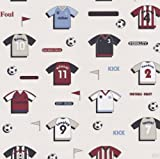 P+S Simplex Quality Children's Collection Wallpaper Wallcovering Football Shirts Cream 05676-10