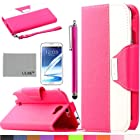 Note 2 Case, ULAK PU Leather Wallet Case for Samsung Galaxy Note 2 N7100 with Screen Protector and Stylus (Hot Pink/White)