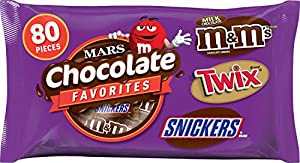Mars Chocolate Candy Variety Mix (M&M's, Twix, and Snickers), 80 Pieces