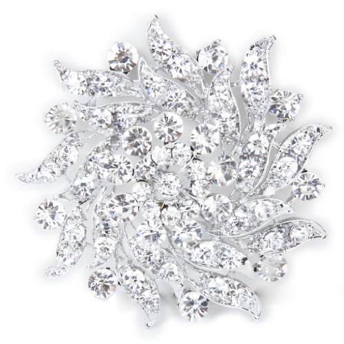 Rhinestone Flower Bridal Wedding Bouquet Brooch Pin Silver