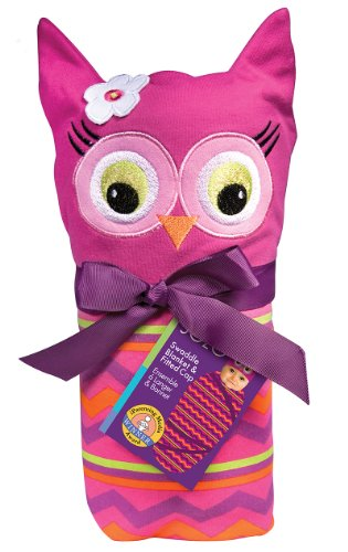Sozo Baby-Girls Newborn Girls Owl Swaddle Blanket And Cap Set, Pink/Purple, One Size