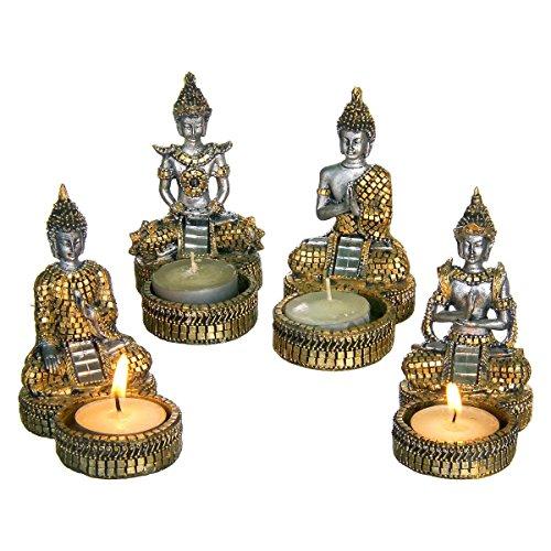 discount etnico buddha kerzenhalter gold set von 4 gr e 10 x 9 cm. Black Bedroom Furniture Sets. Home Design Ideas