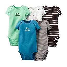 Carter\'s Baby Boys\' 5 Pack Bodysuits (Baby) - Dark Assorted 9M