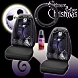 New 4 Pieces Disney Nightmare Before Christmas Jack Skellington Graveyard Car Auto Accessories Interior Combo Kit Gift Set - Seat Cover, Steering Wheel Cover and Travel Size Purple Slice
