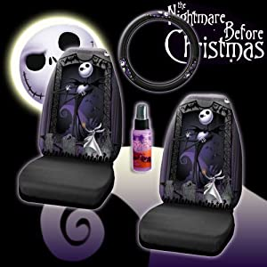 new 4 pieces disney nightmare before christmas jack skellington graveyard car auto. Black Bedroom Furniture Sets. Home Design Ideas