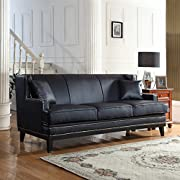 DIVANO ROMA FURNITURE Modern Bonded Leather Sofa with Nailhead Trim Detail (Black)