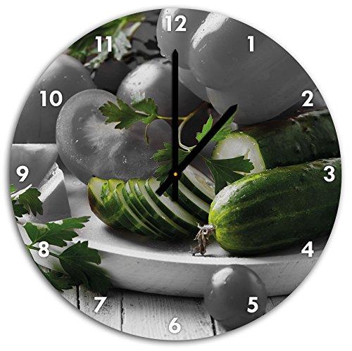 plaque de légumes avec des poivrons, tomates et courgettes noir blanc, diamètre 48cm / horloge murale avec le noir a les mains et le visage, objets décoratifs, Designuhr, aluminium composite très agréable pour salon, bureau