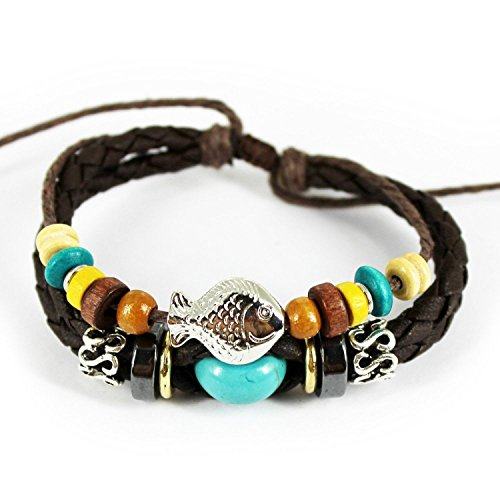 Real Spark Fish Colorful Wood Cube Beaded Tibet Vintage Braided Cord Adjustable Length Single Wrap Bracelet (Green)