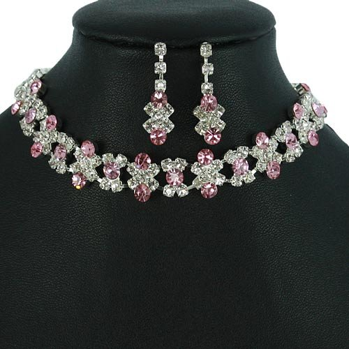 Silver and Light Pink Crystal Rhinestone Choker Necklace Set