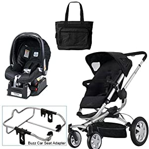 Quinny Rocking Black Buzz 4 Travel System with Peg Perego Nero Black Car Seat Diaper Bag