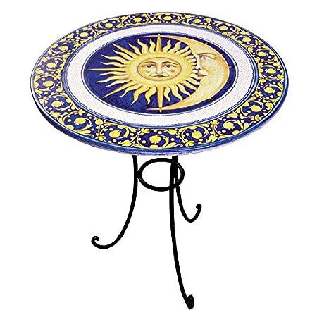 Table ronde en fer forgé et plan en céramique artistique de Castelli décorée à la main–Table de salon, de jardin, de cuisine–Code: TC-04Collection: Art de l'ameuble