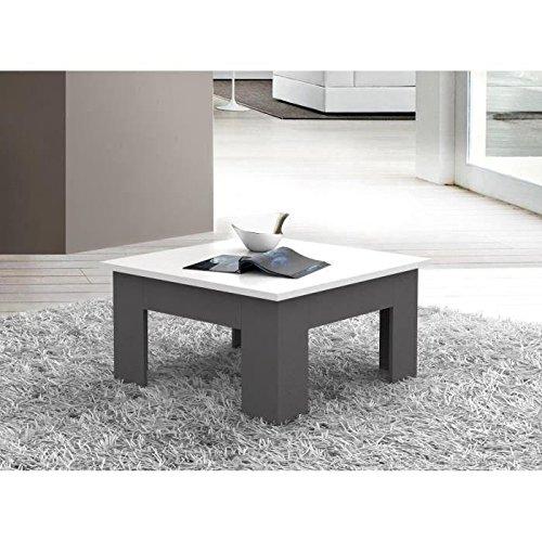 FINLANDEK Table basse PILVI style contemporain blanc et gris foncé - L 75 x l 75 cm