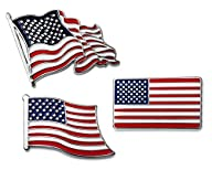 3-Pc Lapel Pin Set USA American Flag Patriotic Collection by Puentes Denver