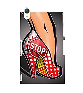 ANIMATED GIRLS FOOTWEAR HIGH HEEL BALLERINA WITH A ROAD SIGN 3D Hard Polycarbonate Designer Back Case Cover for Sony Xperia Z2 :: Sony Xperia Z2 L50W D6502 D6503