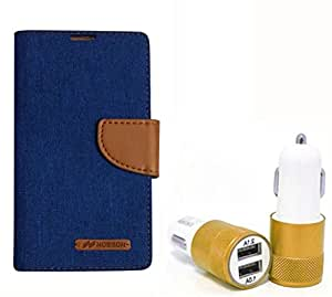 Aart Fancy Wallet Dairy Jeans Flip Case Cover for LenovoA-6000 (Blue) + Dual USB Port Car Charger with Smartest & Fastest Technology by Aart Store.