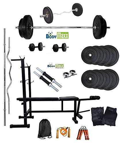 Body Maxx 52 Kg Weight lifting combo of Home Gym Rubber plates + Multi Purpose 6 in 1 bench press + 2 Dumbells Rods + 3 Feet Curl Bar + 5 Feet Straight Bar + Gloves + Rope + Gym Bag + Hand Grippers & 4 Locks