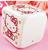 LED Kids alarm clock Hello Kitty K1 - 7 colors, 7 songs - 80 x 80 x 80 mm, the favorite alarm clock for children