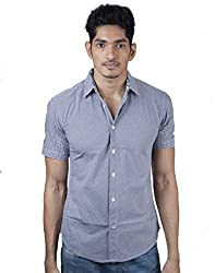 Mavango Modish Blue Checkered City Slim Fit Men's Casual Cotton Shirt