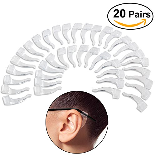 NUOLUX Eyeglasses Anti-skid Ear Pads Ear Hook 20 Pairs (Transparent) (Glasses Ear Pads compare prices)