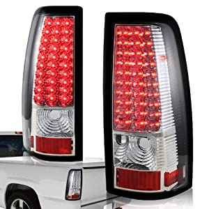 1999 - 2002 Chevy Silverado / GMC Sierra LED Chrome Housing Clear Lens Tail Lights