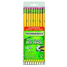 Dixon Ticonderoga Wood-Cased #2 Pencils, Pre-Sharpened, Box of 18, Yellow (13818)