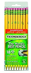 Dixon Ticonderoga Wood-Cased #2 HB Pencils, Pre-Sharpened, Hang Tab Box of 18, Yellow (13818)