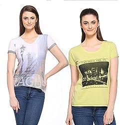 Cashewnut Women Printed Pack of 2 Tops-XL