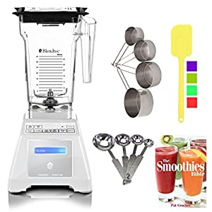 Blendtec TB-611-20 Total Blender with Four Side (White) + Smoothies Bible Cookbook and Kitchen Accessory Bundle