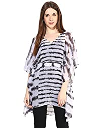 LOVE FROM INDIA White Poly Printed Cover-Up