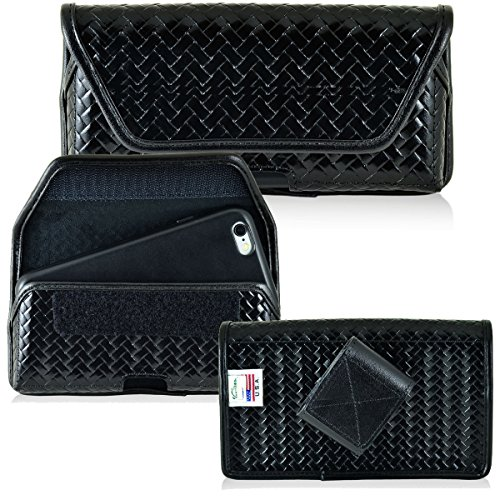 Law Enforcement Rugged Genuine Leather Basket Weave Duty Belt Police Case with Velcro closure fits Samsung Galaxy s7 Edge with an Otterbox Commuter Case (Weave Edges compare prices)