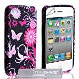 iPhone 4 / 4S Pink And Black Floral Butterfly Silicone Caseby Yousave Accessories