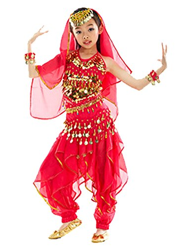 AvaCostume Girl's Belly Dance Costume Set Halter Top Pants Gold Coins
