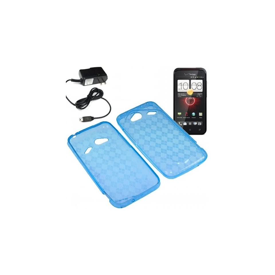 BW TPU Sleeve Gel Cover Skin Case for Verizon HTC Droid Incredible 4G LTE 6410 + Travel Charger Blue Checker Cell Phones & Accessories