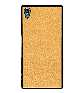 PrintVisa SONZ5-Tan Leather Design Metal Back Cover for Sony Xperia Z5