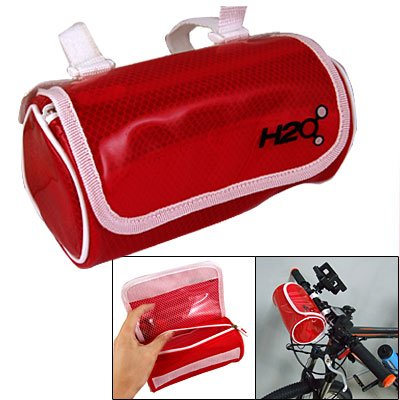 Como Hook Loop Fastener Handlebar Bag Clear Red for Bicycle