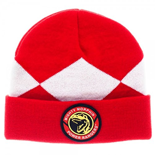 POWER RANGERS Mighty Morphin Red Suit up Knitted Cuffed BEANIE HAT