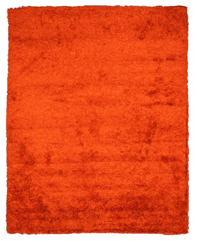 EORC OSHG1RT Handmade Wool and Viscose Burnt Shaggy Rug, 5-Feet by 8-Feet, Orange